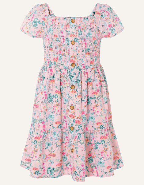 Floral Print Shirred Dress Pink, Pink (PINK), large