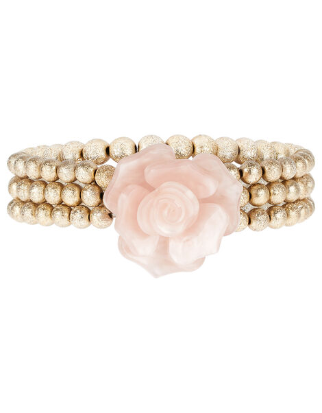 Resin Flower Frosted Beaded Bracelets, , large
