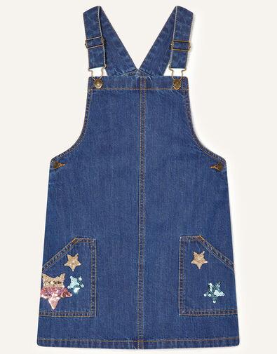 Star Denim Pinny Dress Blue, Blue (BLUE), large
