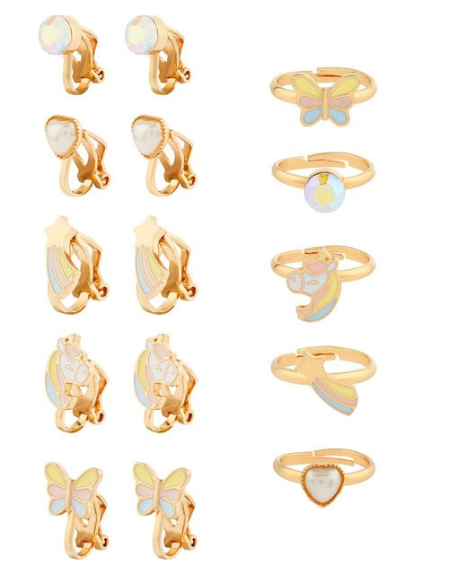 Stardust Unicorn Clip-On Earring and Ring Set, , large
