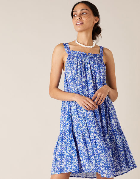 Beaded Neckline Printed Dress Blue, Blue (BLUE), large