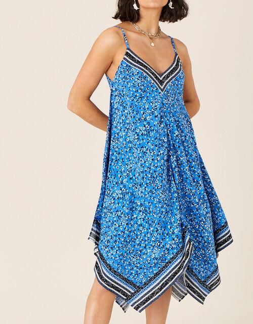 Hanky Hem Strappy Dress , Blue (COBALT), large