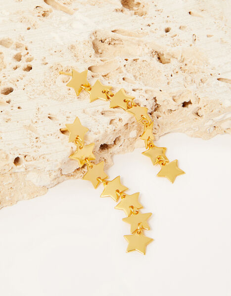 Gold-Plated Long Star Drop Earrings, , large