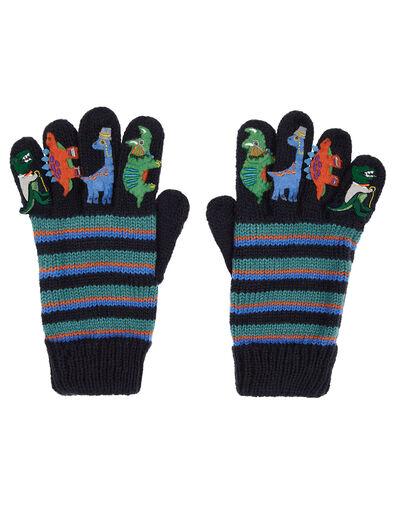 Dino Stripe Knit Gloves Blue, Blue (BLUE), large