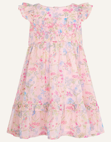 Baby Floral Chiffon Dress in Recycled Polyester Pink, Pink (PALE PINK), large