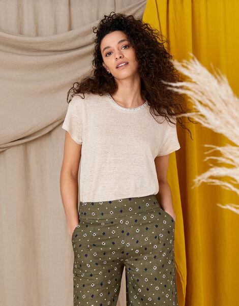 Scoop Neck T-Shirt in Pure Linen Natural, Natural (STONE), large