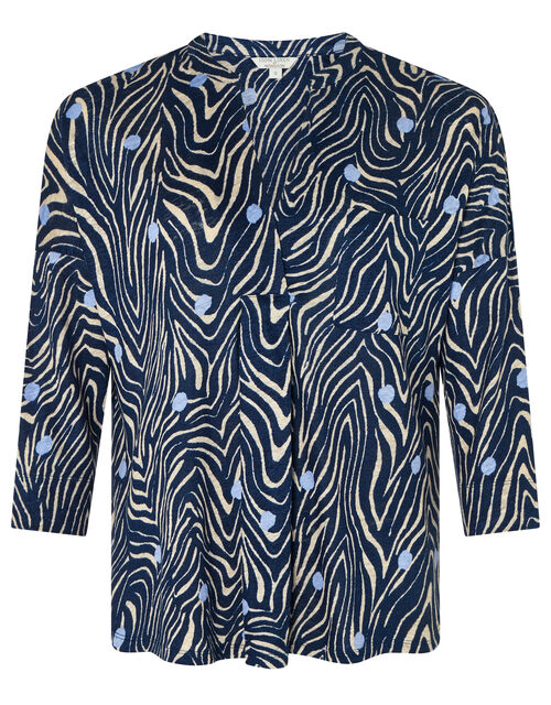 Lois Printed Long Sleeve Top in Pure Linen, Blue (NAVY), large