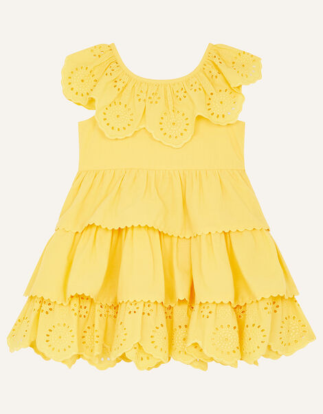 Baby Broderie Frill Dress Yellow, Yellow (YELLOW), large