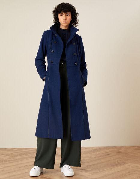 Rosalee PU Tipped Coat Blue, Blue (BLUE), large