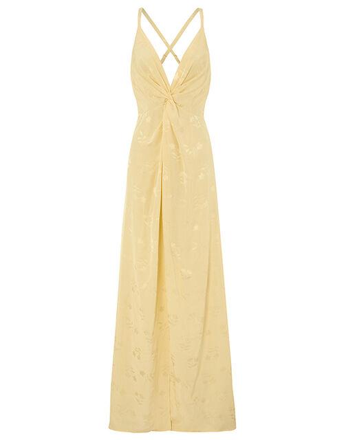 Karlie Knot Front Jacquard Dress, Yellow (YELLOW), large