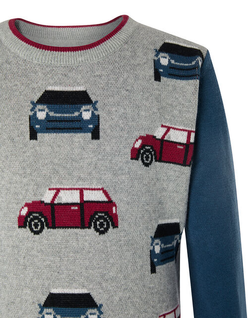 Car Knit Jumper, Grey (GREY), large