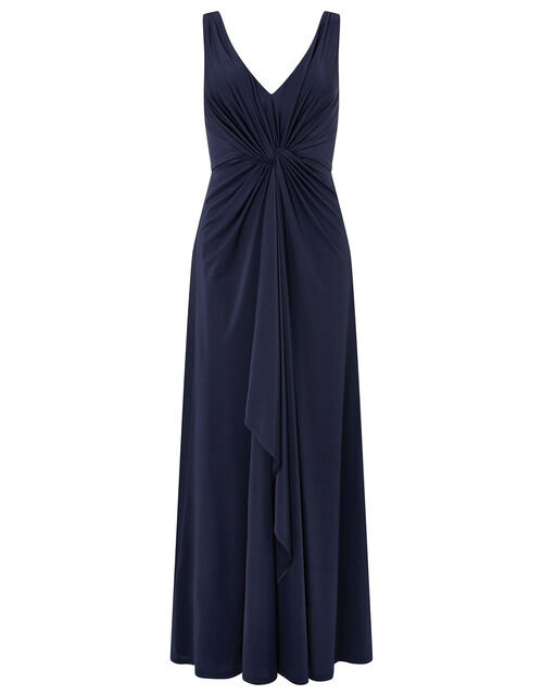 Jessie Jersey Twist V Neck Maxi Dress, Blue (NAVY), large