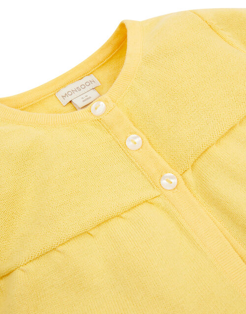 Newborn Embroidered Chick Cardigan, Yellow (YELLOW), large