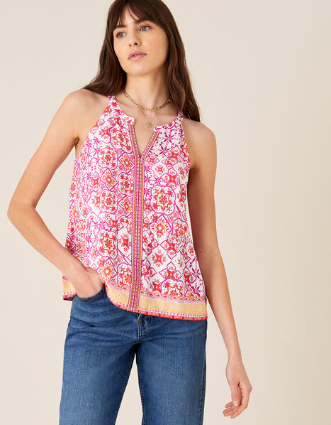 Beaded Floral Print Cami Red, Red (RED), large