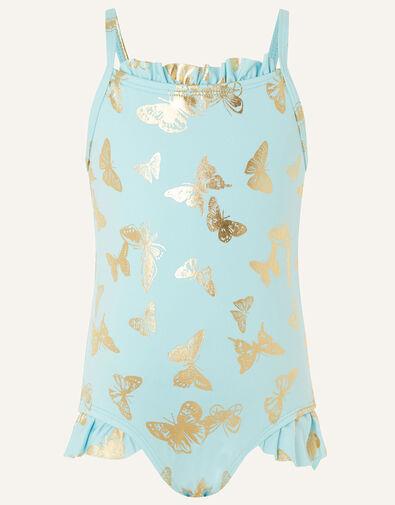 Baby Foil Flutter Swimsuit Blue, Blue (AQUA), large
