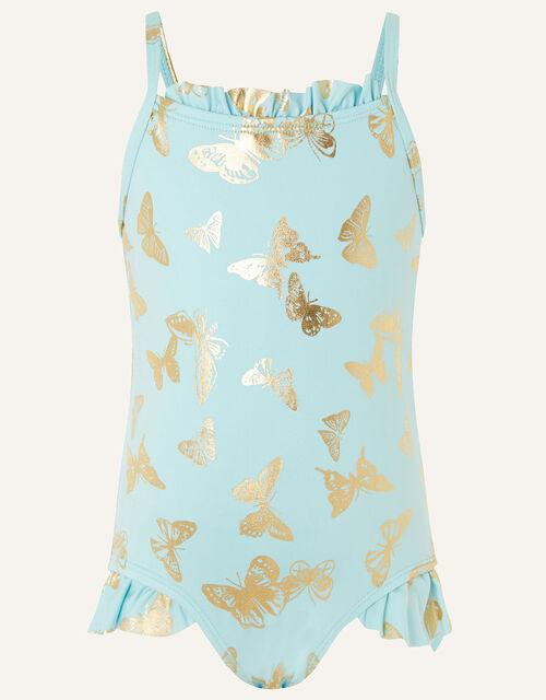 Baby Foil Flutter Swimsuit, Blue (AQUA), large