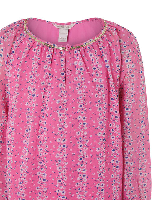 Trisha Floral Dress in Recycled Polyester, Pink (PINK), large