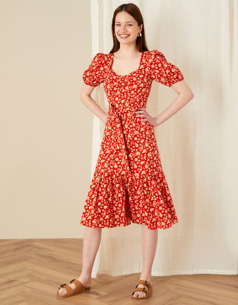 Floral Print Tiered Midi Dress  Red, Red (RED), large