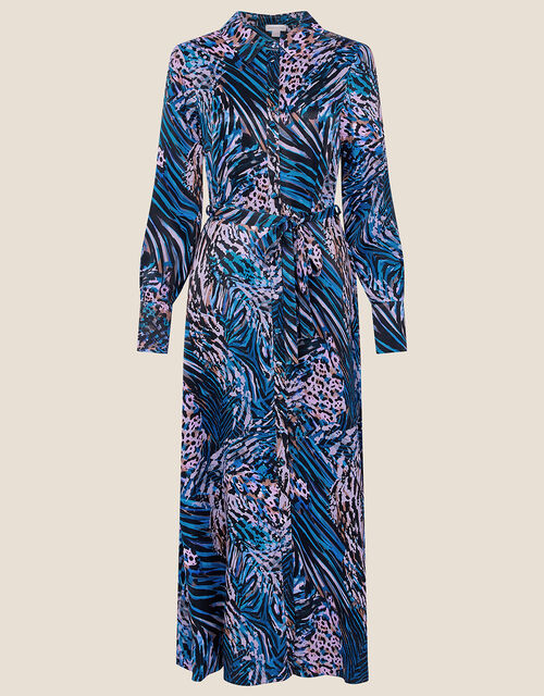 Zelda Animal Print Shirt Dress, Blue (BLUE), large
