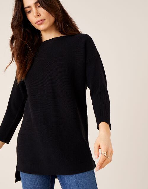 Ottoman Slash Neck Jumper, Black (BLACK), large