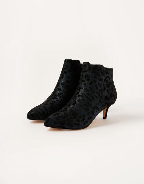 Leopard Print Heeled Ankle Boots Black, Black (BLACK), large