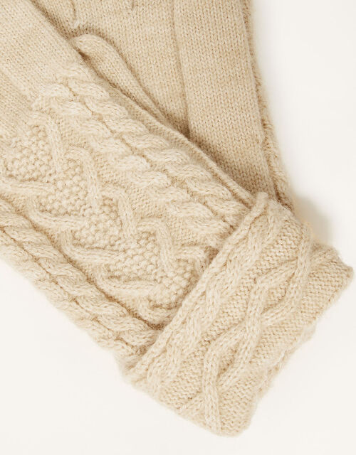 Cable Knit Gloves, , large