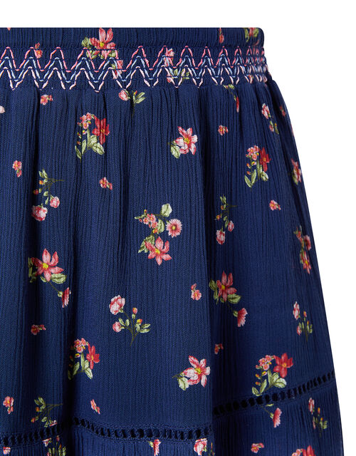 Maida Ditsy Floral Midi Skirt, Blue (NAVY), large