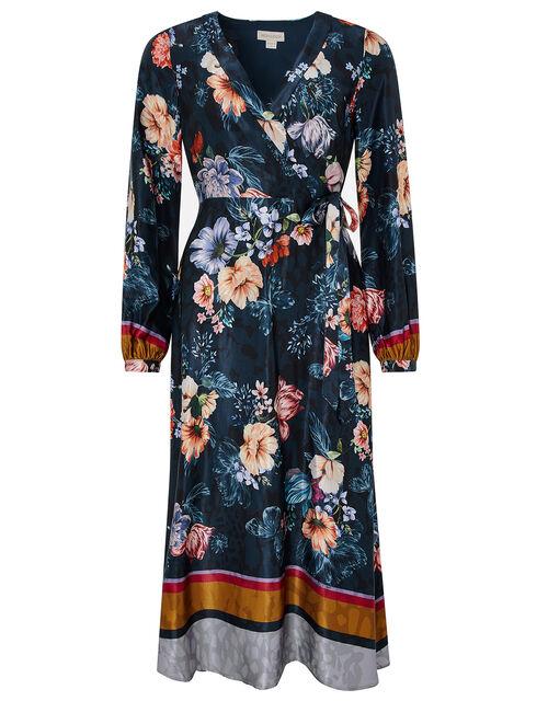 Shanie Floral Midi Dress, Teal, large