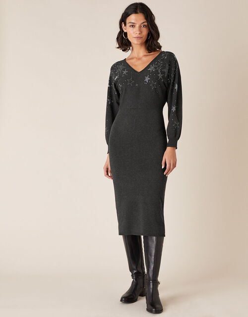 Star Heat-Seal Gem Knit Dress with LENZING™ ECOVERO™, Grey (CHARCOAL), large
