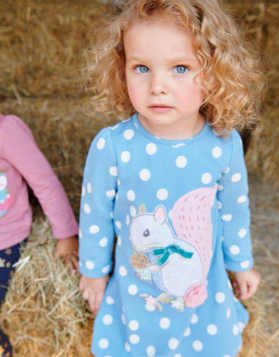 Baby Squirrel Sweat Dress and Tights Blue, Blue (BLUE), large