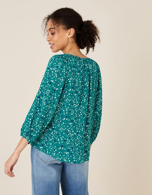 Printed Button Front Blouse, Green (GREEN), large