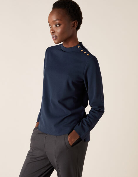 LOUNGE Hatty High Neck Button Top Blue, Blue (NAVY), large
