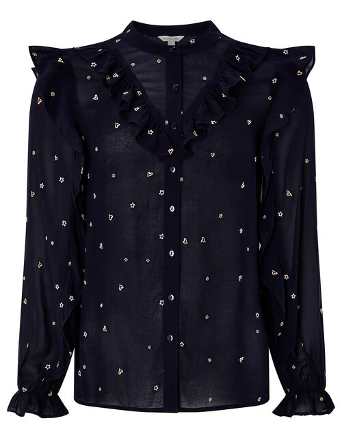 Lily Frill Embroidered Blouse, Blue (NAVY), large