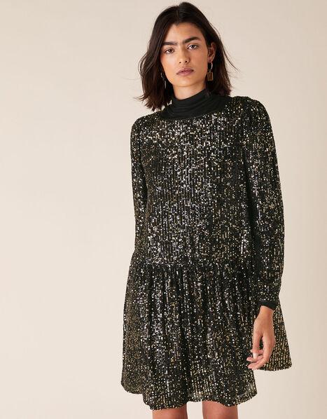 Charlotte Sequin Stretch Tunic Dress Black, Black (BLACK), large