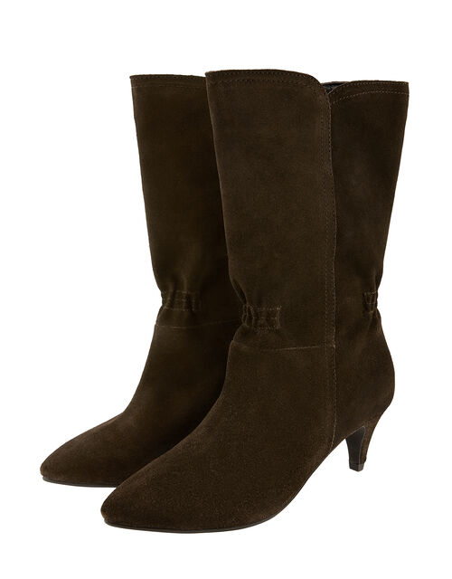 Mid-Calf Suede Boots, Brown (CHOCOLATE), large