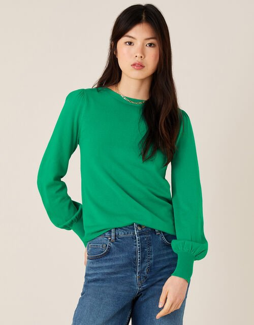 Button-Back Jumper with LENZING™ ECOVERO™, Green (GREEN), large