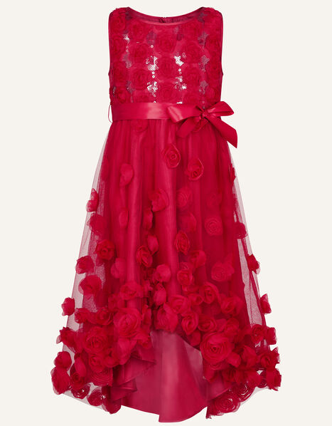 Sequin 3D Flower Dress Red, Red (RED), large
