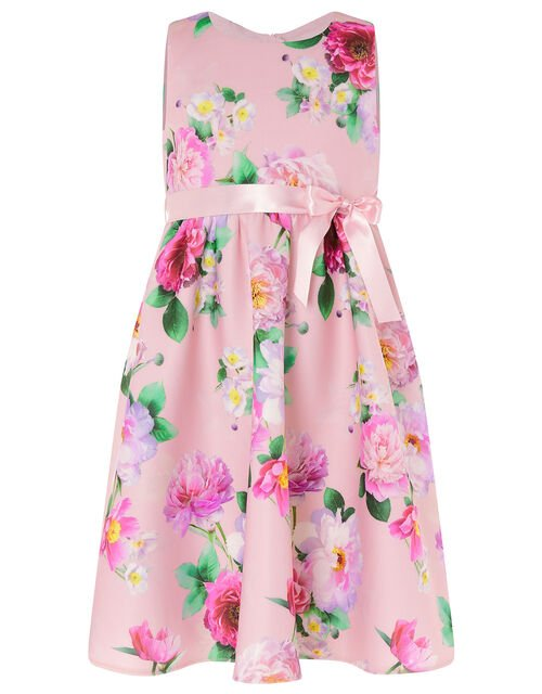 Floral Sleeveless Scuba Dress , Pink (PINK), large
