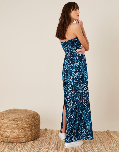 Animal Print Bandeau Dress, Blue (BLUE), large