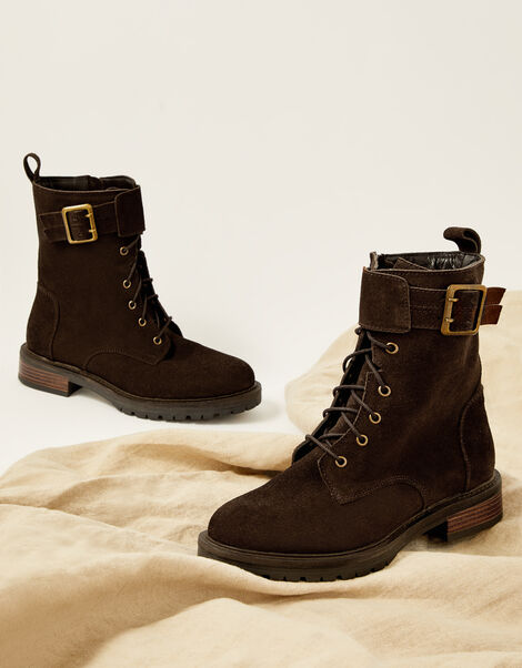 Suzie Suede Buckle Biker Boots Brown, Brown (CHOCOLATE), large