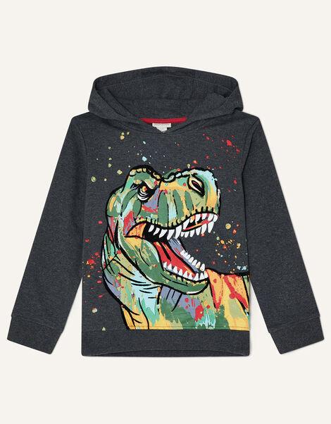 Splatter Dinosaur Hoody  Grey, Grey (CHARCOAL), large