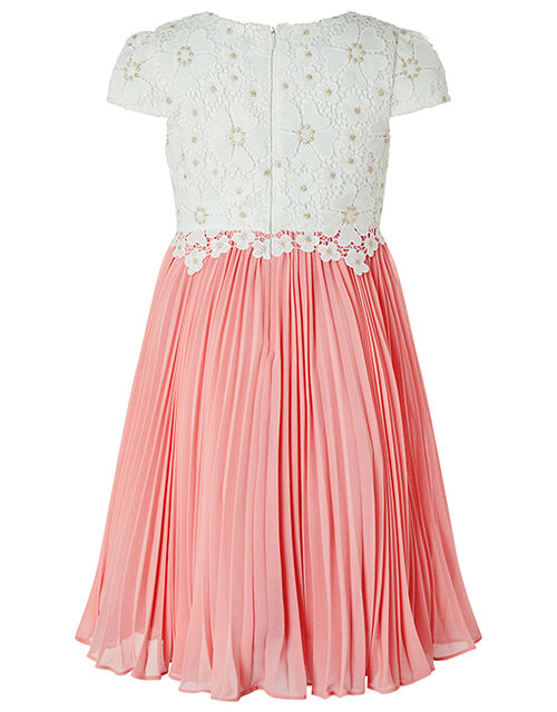 Freya Crochet Lace Dress with Pleated Skirt, Ivory (IVORY), large
