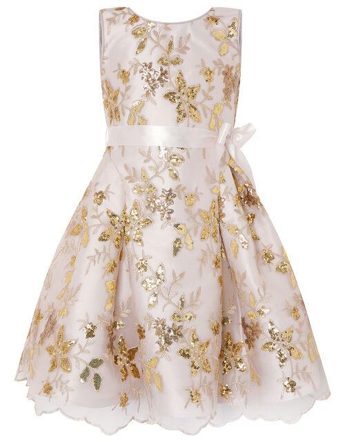 Floral Sequin Bow Back Dress, Gold (GOLD), large