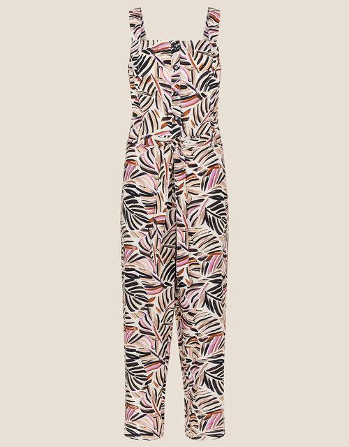 Palm Print Poplin Jumpsuit, Natural (STONE), large