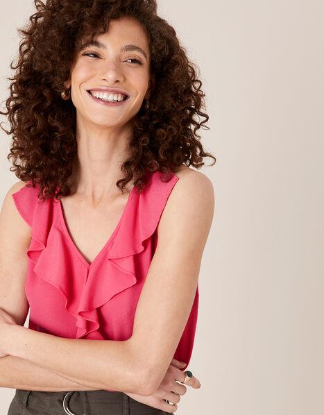 Ruffle Short Sleeve Blouse Pink, Pink (PINK), large