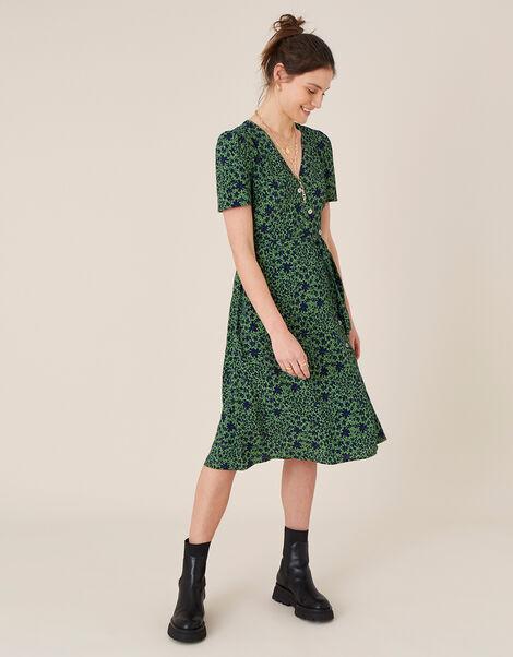 Printed Short Sleeve Wrap Dress Green, Green (GREEN), large