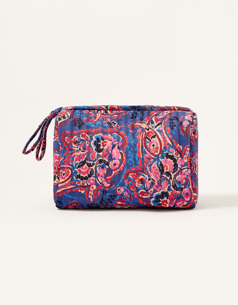 Paisley Print Quilted Makeup Bag, , large