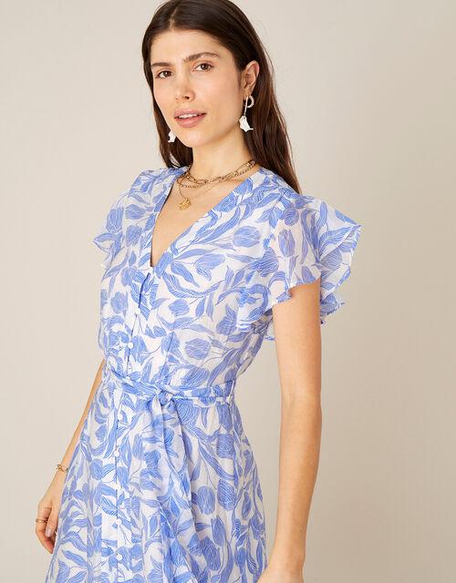 Tulip Print Midi Dress, Blue (BLUE), large