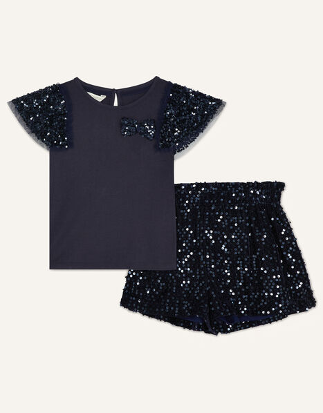 Party Sequin Top and Shorts Set Blue, Blue (NAVY), large