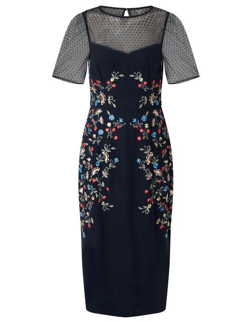 Eva Floral Embroidered Shift Dress, Blue (NAVY), large